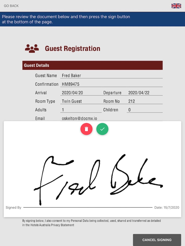 check in form